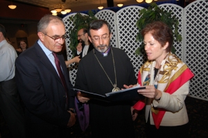 Diocesan Primate Abp. Khajag Barsamian (center) with U.S. Amb. Yovanovitch (right) and Garnik Nanagoulian, executive director of the Fund for Armenian Relief (left)