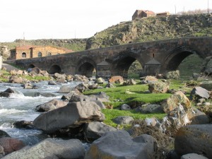 Armenian landscape with Oshakan Bridge.jpg