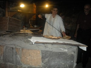 A woman making lavash in Gyumri