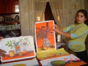 Svetlana is showing the pictures of her brother Samvel